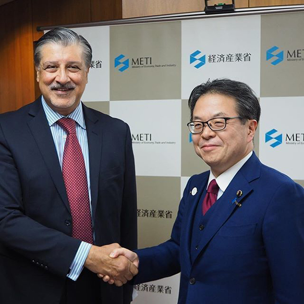 The IRENA Director-General with HE Hiroshige Seko, Minister of Economy Trade and Industry