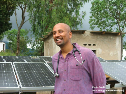 Doctor and solar panels