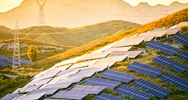 Solar PV panels across a mountain
